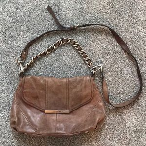 B. Makowsky Brown Leather Cross Body Purse